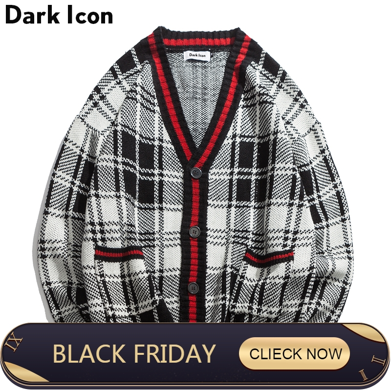 DARK ICON Knitted Plaid Cardigan Sweater Men 2018 High Street V-neck Oversize Sweater for Men Loose Vintage Men's Sweaters