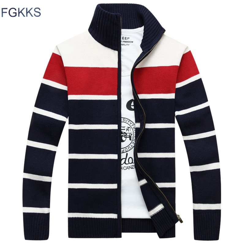 FGKKS 2018 New Men Sweater Casual Style Stand Collar Cotton Material Thin Warm Thick Winter Patchwork Cardigan Male