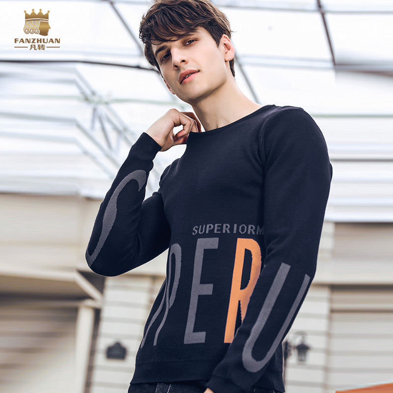 Fanzhuan Free Shipping New 2018 casual autumn slim male men's man long sleeve BLACK Pullover thin letter design sweater 825177