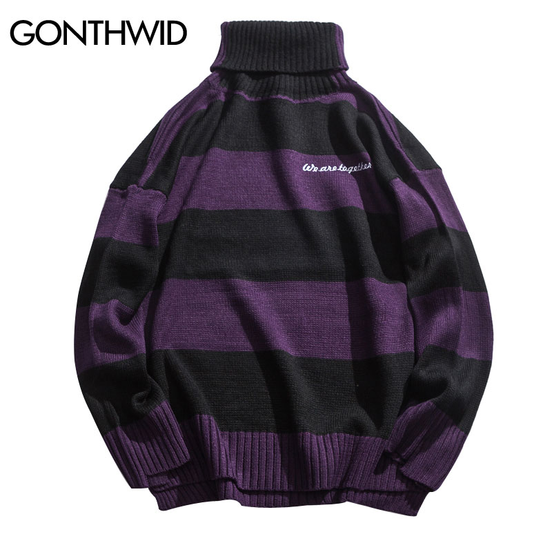 GONTHWID Striped Knitted Turtleneck Sweaters Men Fashion Pullover Sweater 2018 Autumn Male Fashion Hip Hop Casual Knitwear Tops