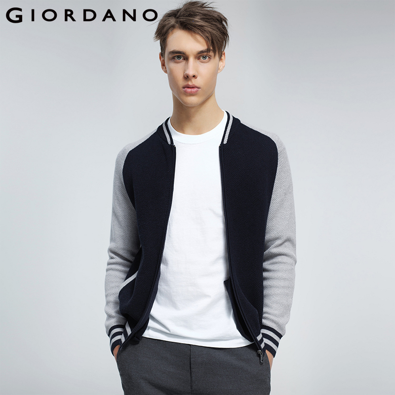 Giordano Men Cardigan Men Sweater Combed Cotton Contrast Stand Collar Cardigan Colorblocked Zip Fly Stripes Mens Sweaters