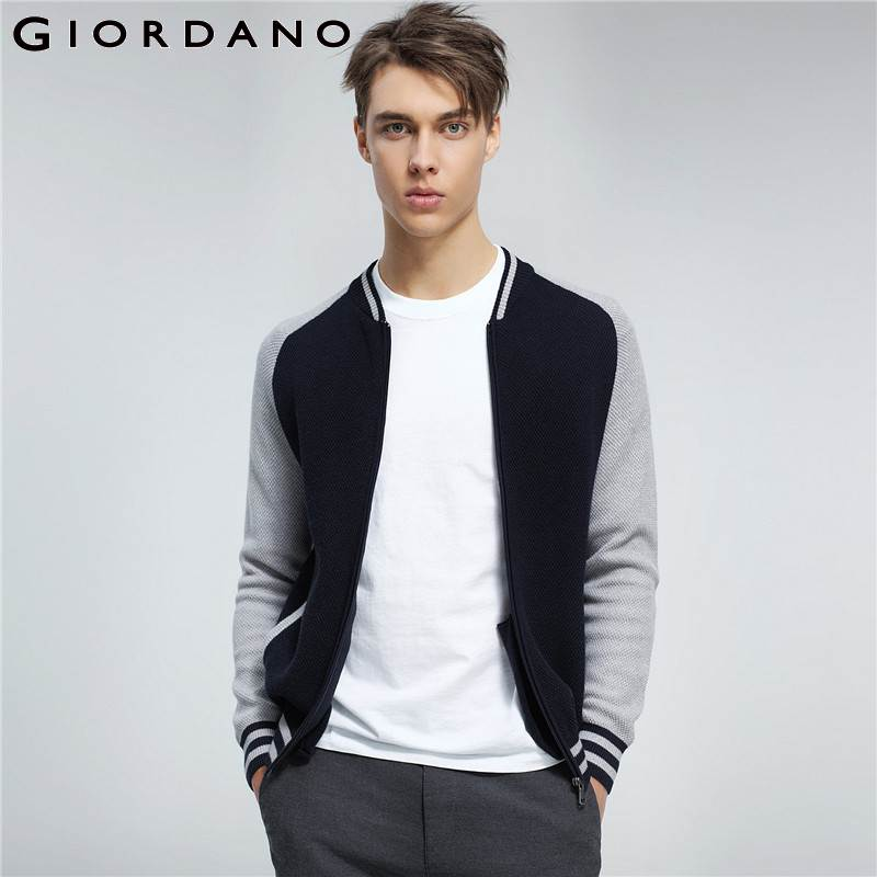 Giordano Men Sweater Baseball Collar Combed Cotton Cardigan Stripes Design Ribbed Cuffs Zip Sweaters Male Maglione Winter