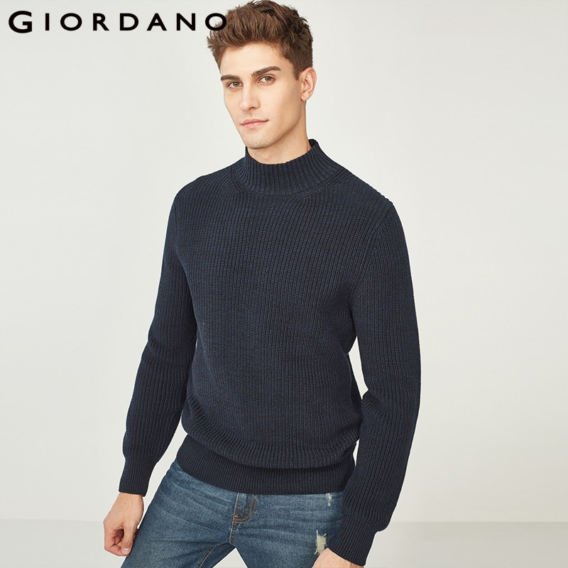 Giordano Men Sweater Men Pullover Thickened Cotton Mockneck Long Sleeves Sweaters 7 Needle Knitting Warm Half-turtleneck Winter