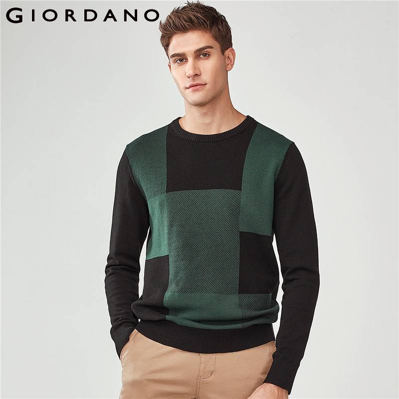 Giordano Men Sweater Men Quality Combed Cotton Pullover Men Patchwork Color Sweaters Ribbed Soft Pullover Homme Warm Clothes