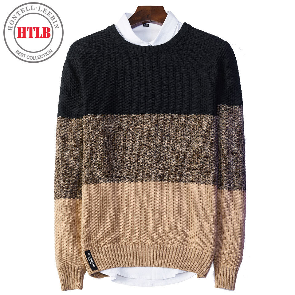 HTLB 2017 Brand New Casual Autumn Men Sweater Winter Warm Jaquard Fashion Men's O-Neck Pure Cotton Jumpers Pullover Sweater Male