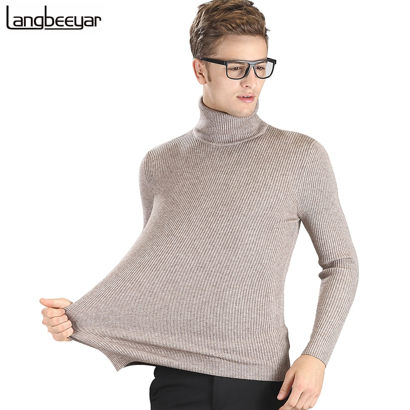 High-grade New 2018 Autumn Winter Youth Fashion Turtleneck Sweater Men Knitted Sweater High Elastic Mens Sweaters And Pullovers