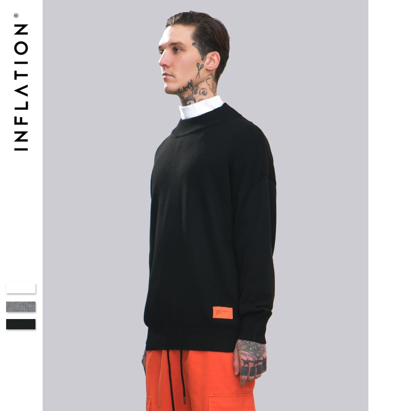 INFLATION Sweater Men 2018 Autumn Winter New Fashion Knitted Pullovers Solid Colour High Quality Plus Size Sweater 8735W