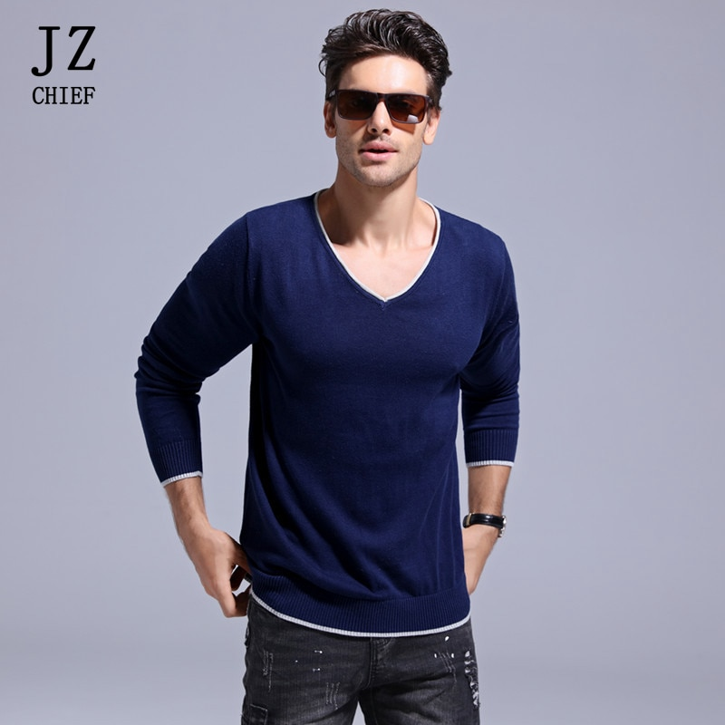 JZ CHIEF Spring Autumn V-Neck Pullover Sweater Men's Knitted Long Sleeve Solid Patchwork Cotton Slim Knit Sweater Underwear Male