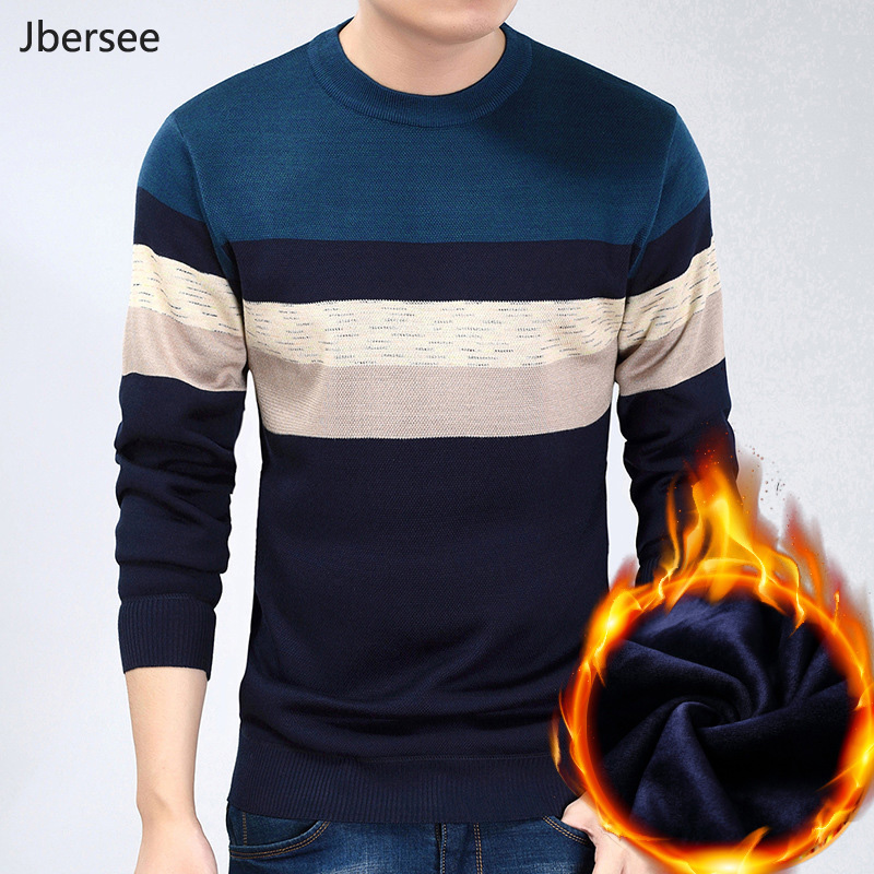 Jbersee Men Cashmere Sweater Casual O-Neck Velvet Pullover Winter Warm Knitted Sweater Men Brand Clothing Pull Homme MY020