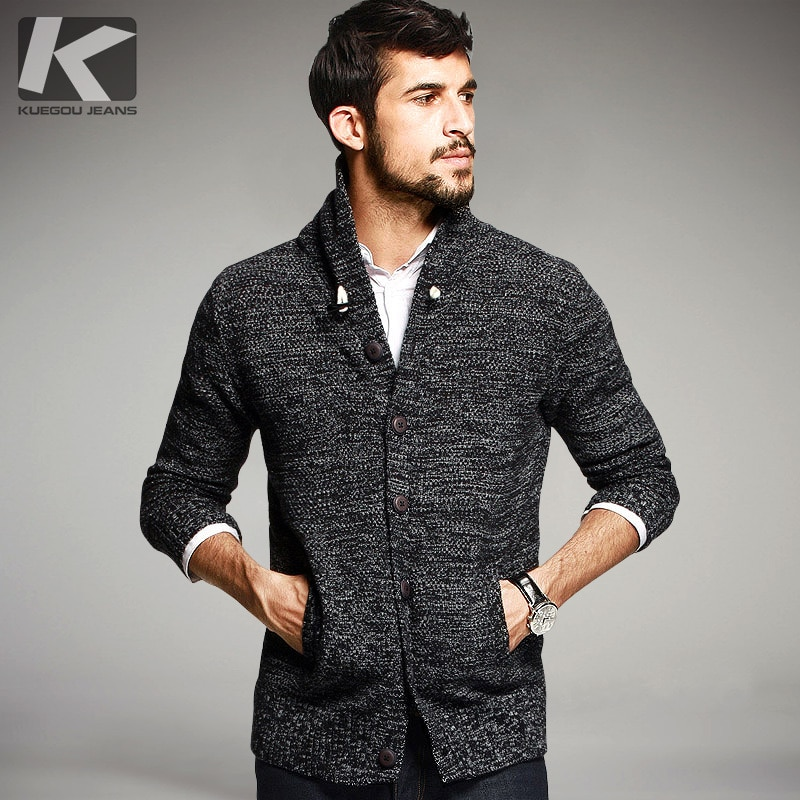 KUEGOU Autumn Mens Sweaters 100% Cotton Knitted Cardigan Knitting Brand Clothing For Man's Knitwear Sweatercoats 16850