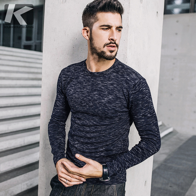 KUEGOU New Autumn Mens Sweaters Army Green Blue Color Knitted Brand Clothing For Man Slim Pullovers Male Knitwear Clothes 1703