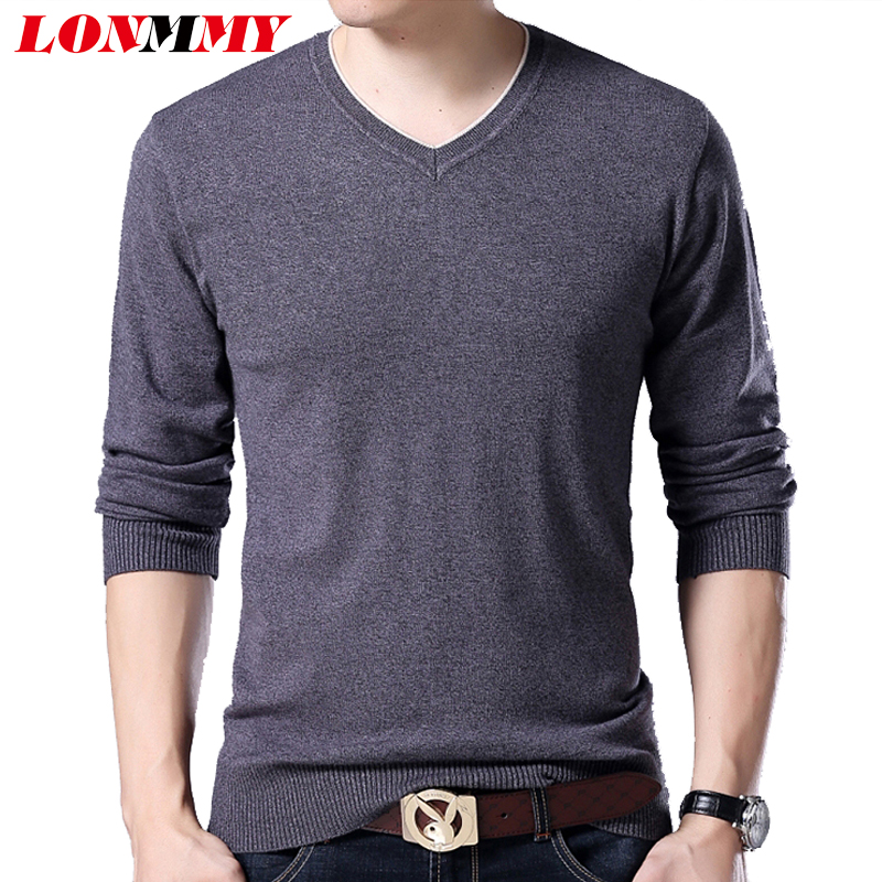 LONMMY Plus size 5XL 6XL 7XL Sweater men v neck Fashion Mens pullover sweater mens knitted sweaters Casual pullover 2018 Autumn