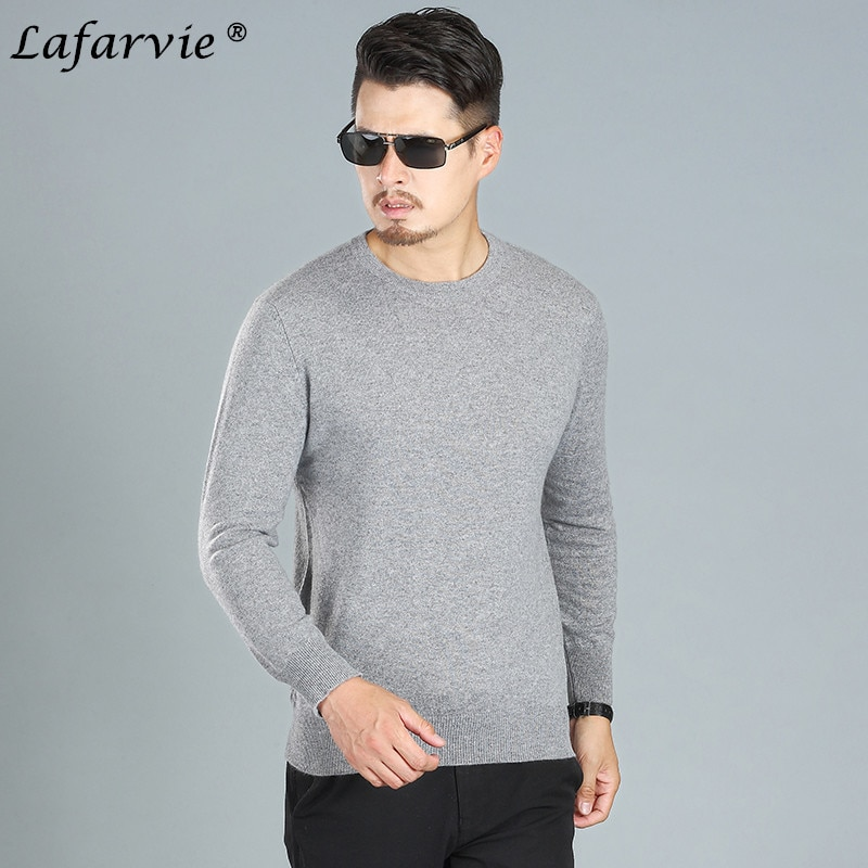 Lafarvie Cashmere Blended Knitted Sweater Men Tops Pullover 2018 Casual Autumn Winter Long Sleeve O-Neck Knitwear Solid Color