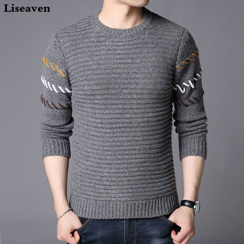 Liseaven Men Gray Sweater Solid Color Pullover Long Sleeve Sweaters O-Neck Knitwear Mens Tops Pull Homme