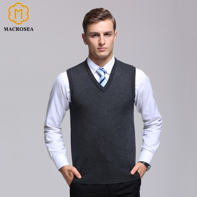 MACROSEA Male Winter Wool Pullover Men's Brand V-Neck Sleeveless Sweaters Pure Color Comfortable Formal Business Knitted Vest