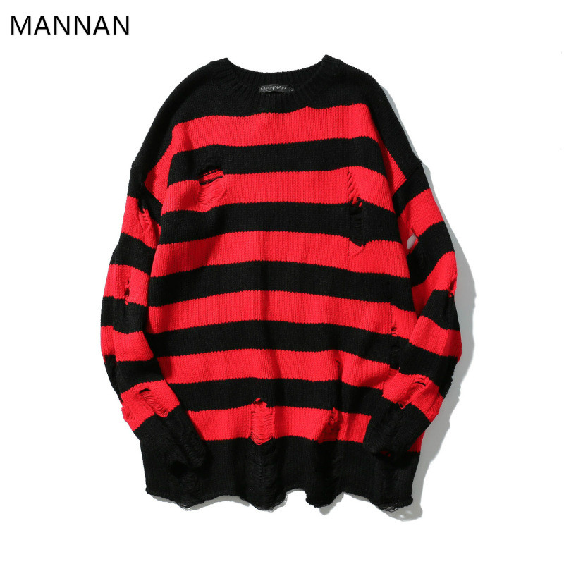 MANNAN Hip Hop Knitted Striped Sweater Mens Streetwear Vintage Patchwork Pullover Sweater Fashion Cotton Sweater Oversized