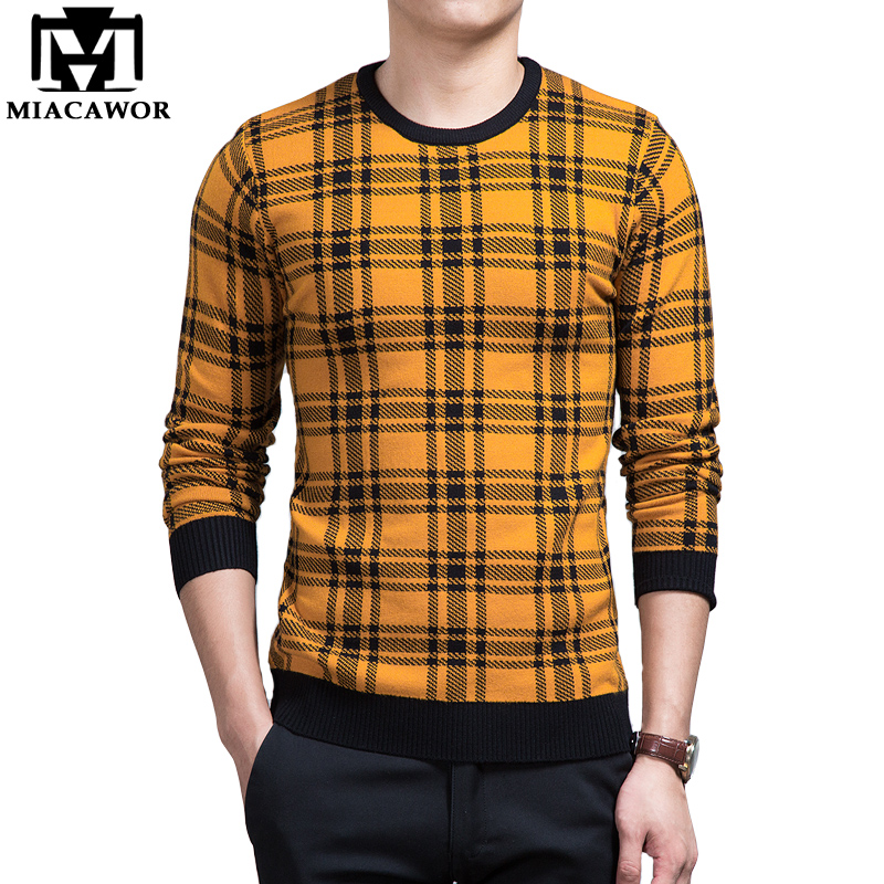 MIACAWOR 2018 New Brand Design Men Sweater Fashion Plaid Male Knitwear Autumn O-neck Pullover Men Slim Fit Pull Homme MY058