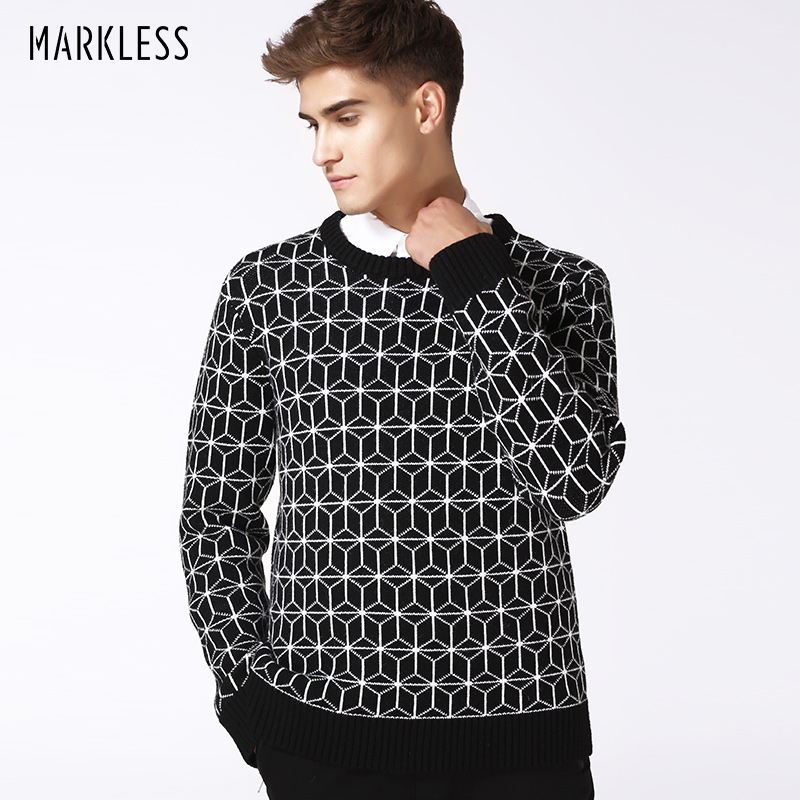 Markless New Autumn Fashion Geometric Knit Men's Sweaters Man Casual Knit Coat Woollen Black With White Color Sweater For Male