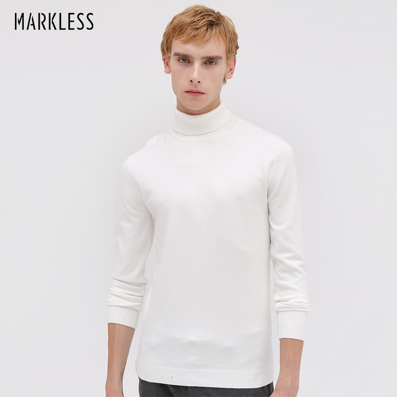 Markless Turtleneck Pullover Sweaters Men 2018 Autumn Winter Slim Fit sueter hombre Thick Warm Knitted Sweaters MSA8708M
