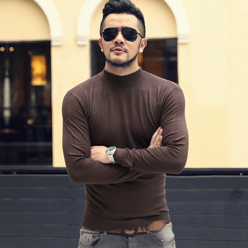 Men Autumn Fashion New Slim European Style Black Long Sleeve O Neck Pullover Sweater Men's Casual Woolen Cotton Sweater J765