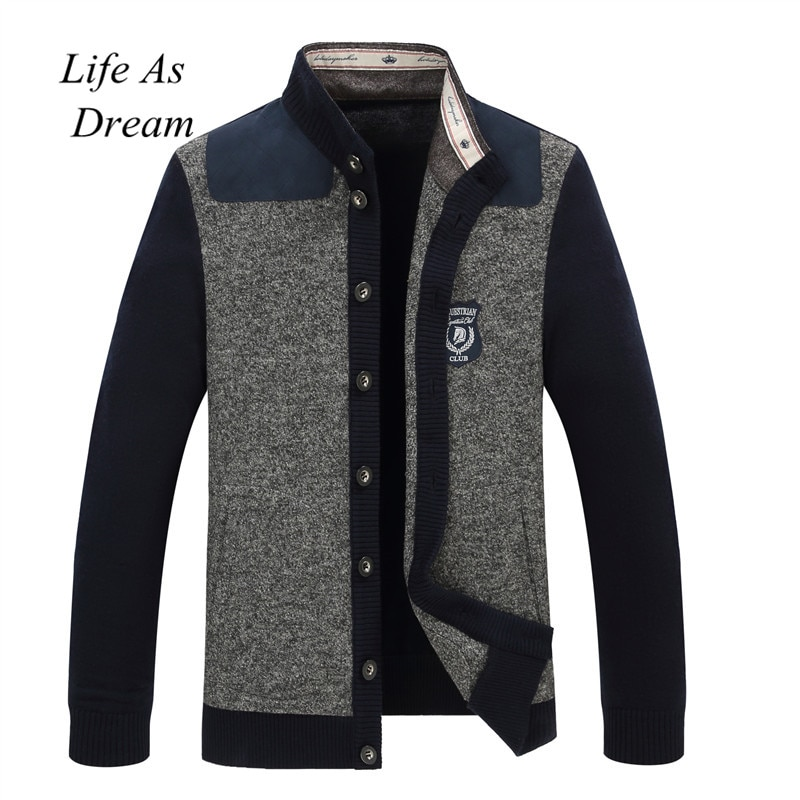 Men Autumn Winter Button V Neck Long Sleeve Knit Sweater Cardigan Coat jacket sweater