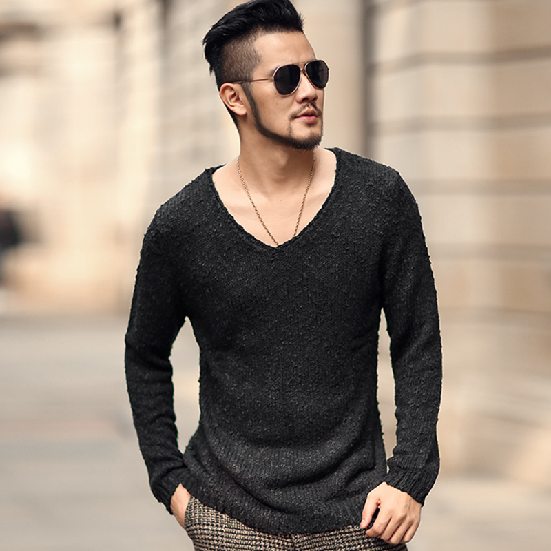 Men new winter high quality long sleeve pullovers men sweater solid European style pullovers men slim fashion v neck brand
