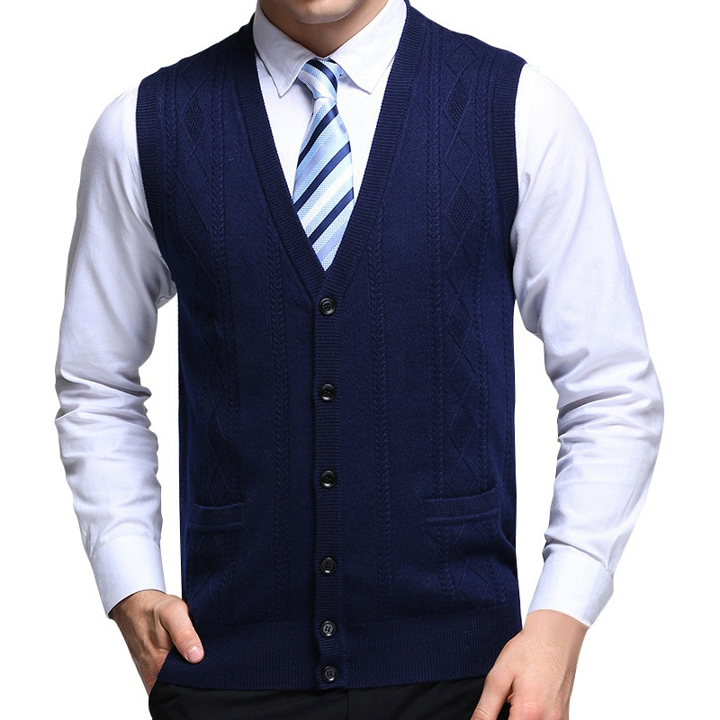 Men's Vest Wool Knitted Vest Winter Mens Pullover Knitted Sweater Sleeveless V-Neck Casual Mens Sweaters and Pullovers
