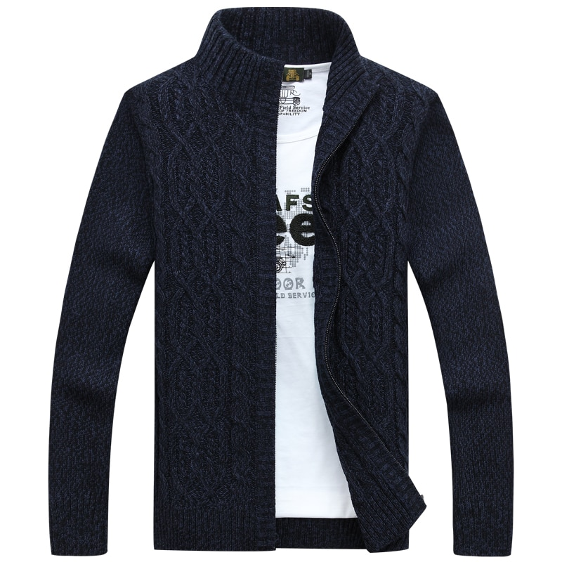 Men sweater cardigan zipper stand collar Korean style 2018 new autumn male thick solid color winter sweatercoat fashion