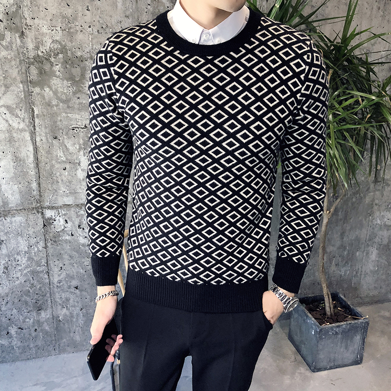 Mens Winter Sweaters Plaid Pullover Mens 2018 Casual Knit Mens Wear Sueters De Hombre Long Sleeve Sweaters Fashion Vetment Homme