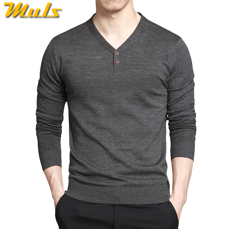 Muls Brand Autumn Men Sweaters V neck Long Sleeve Thin Wool Knitted Polo Shirts Men Pullover Sweaters Spring M-4XL Drop Shipping