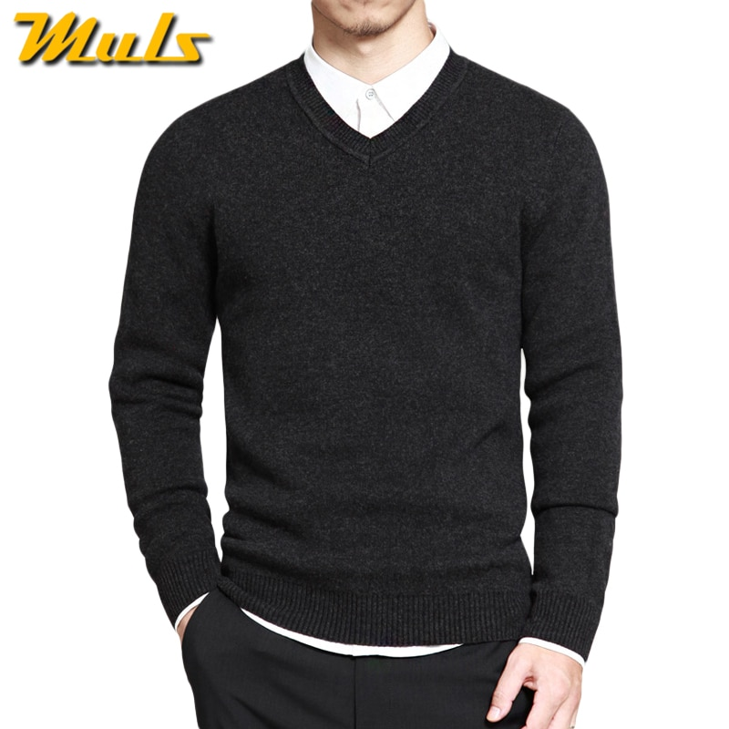 Muls mens pullover sweaters Simple style cotton knitted V neck long sleeve sweater jumpers M-4XL mens brand clothing MS16004