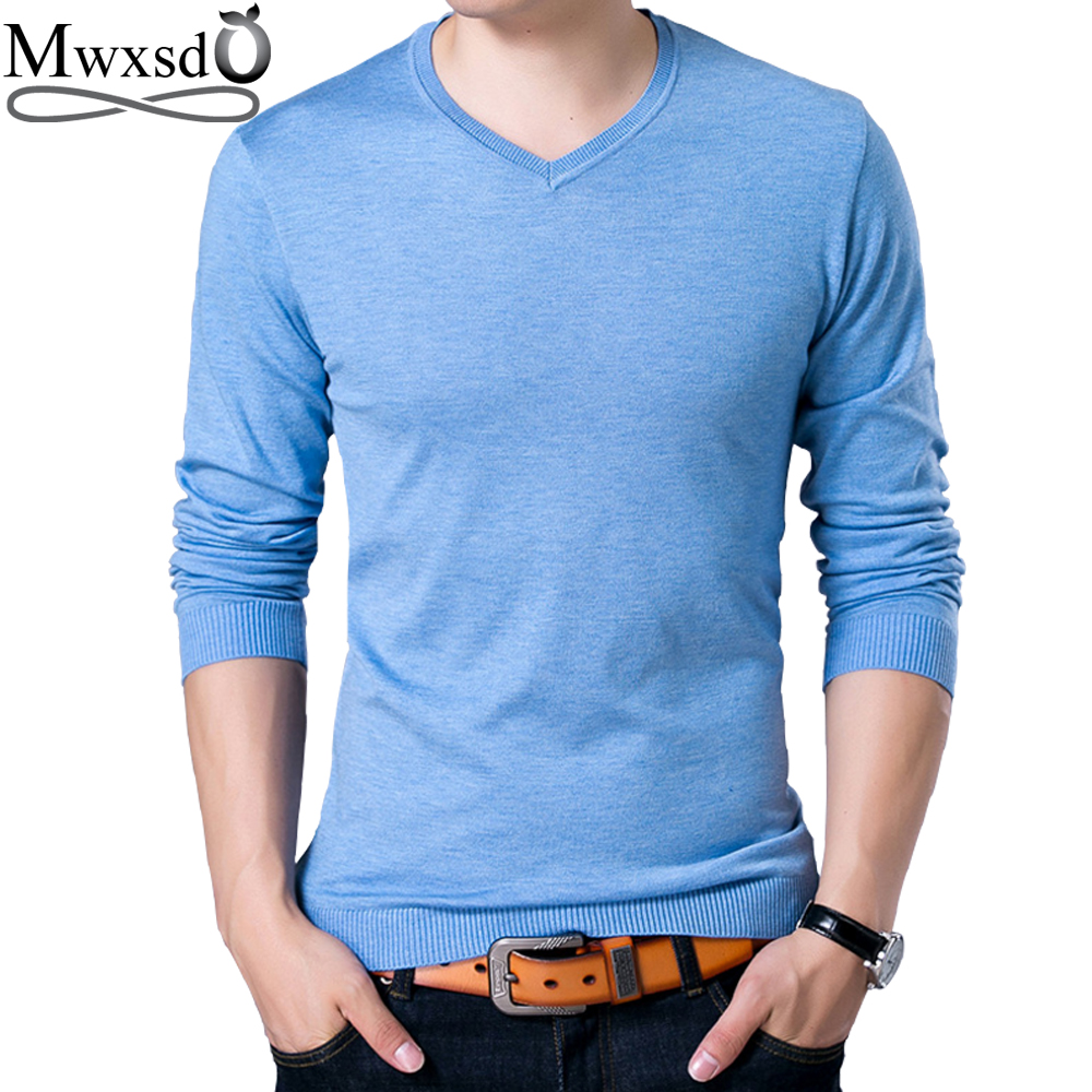Mwxsd brand autumn Men's casual V neck solid Sweater men cotton pullover sweater high quality male christmas sweater homme pull