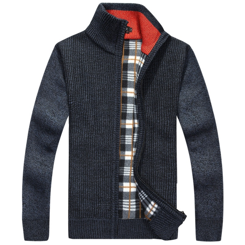 Mwxsd brand winter Warm Thick mens Cashmere Sweaters Men autumn stand Collar male high quality Casual cardigan