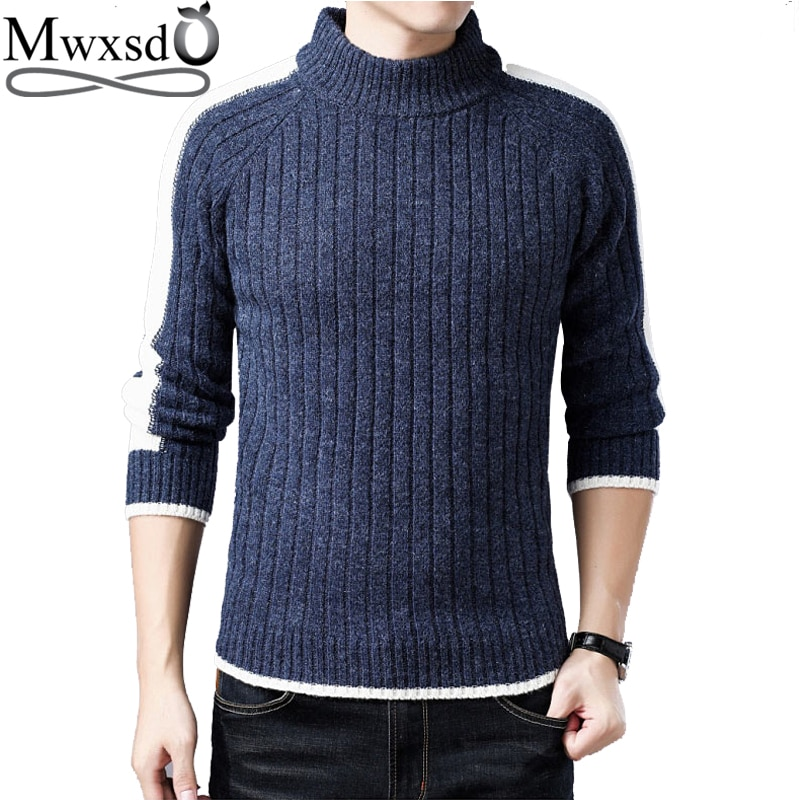 Mwxsd winter casual men's thick warm pullover sweater men high collar knitted cotton sweater male brand pullovers pull homme