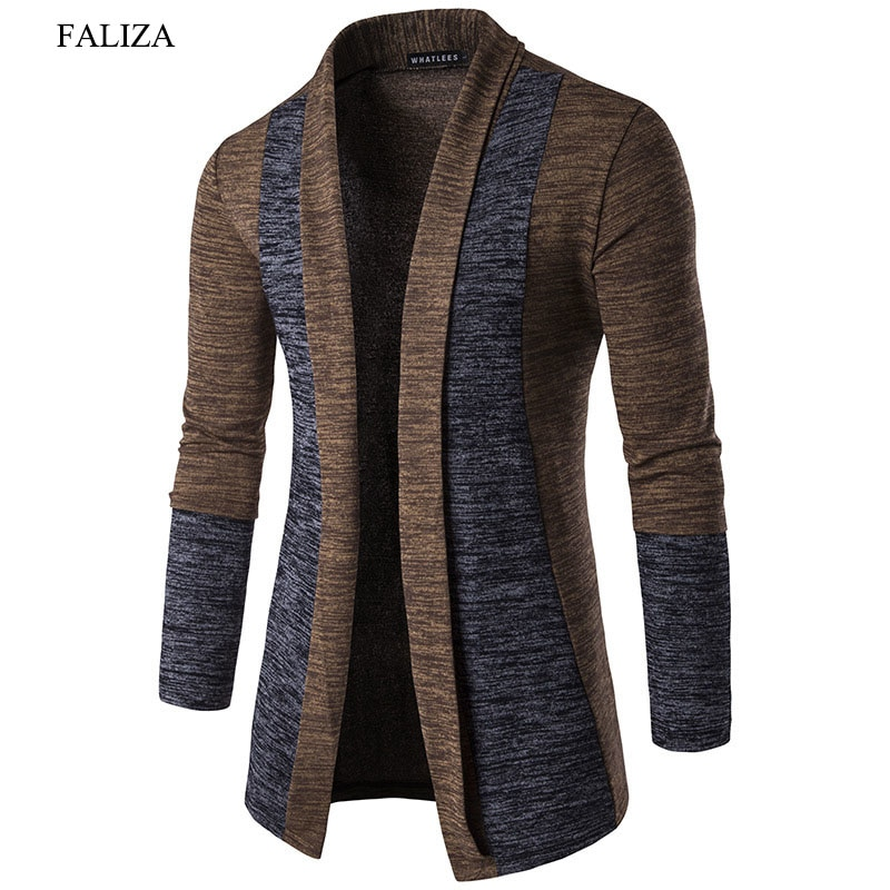 NEW Brand FALIZA Hot Sale Spring Cardigan Male Fashion Quality Cotton Sweater Men Casual Gray Redwine Mens Knitwear Clothes XY-A
