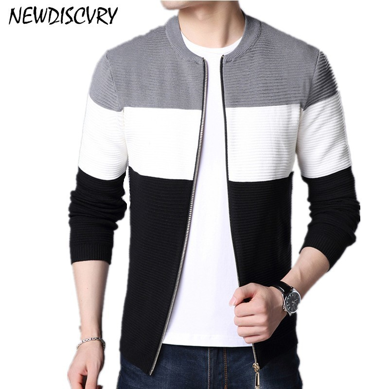 NEWDISCVRY Men's Zipper Cardigan Sweaters Casual Men Knitted Clothes 2018 Autumn Striped Cotton Man Knitwear Male Slim Clothing