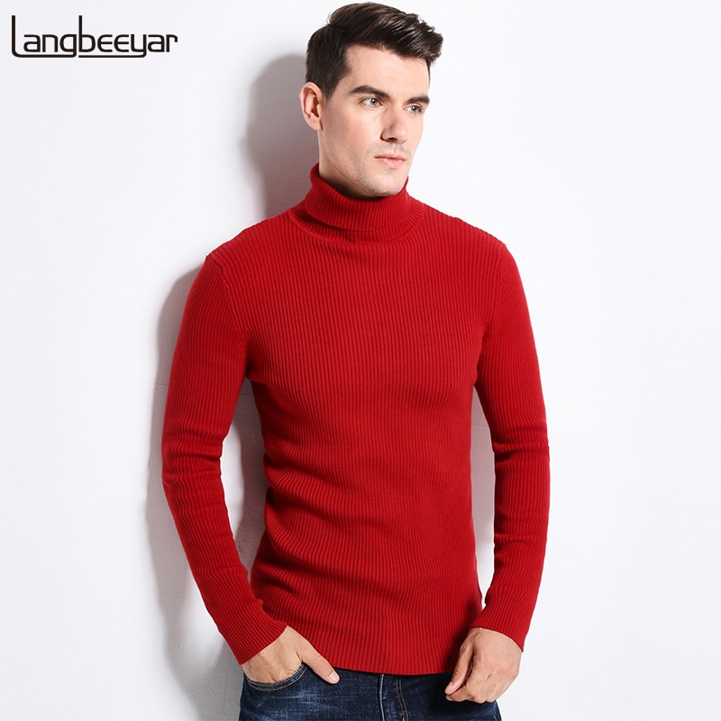 New Thick Warm Autumn Winter Sweater Mens Turtleneck Fashion Solid Color Slim Fit Winter Pullover Men Trend Knitted Sweater Men