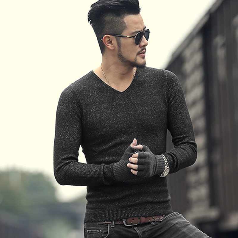 New men winter mixed color slim warm European style v neck sweaters metrosexual men brand cotton woolen casual pullovers