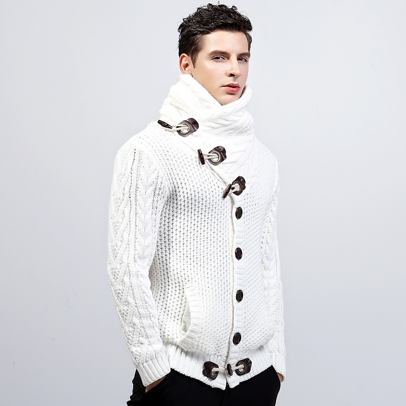 New winter sweater cardigan coat collar men thickening men's sweaters warm hot sale high collar fashion casual sweater jacket