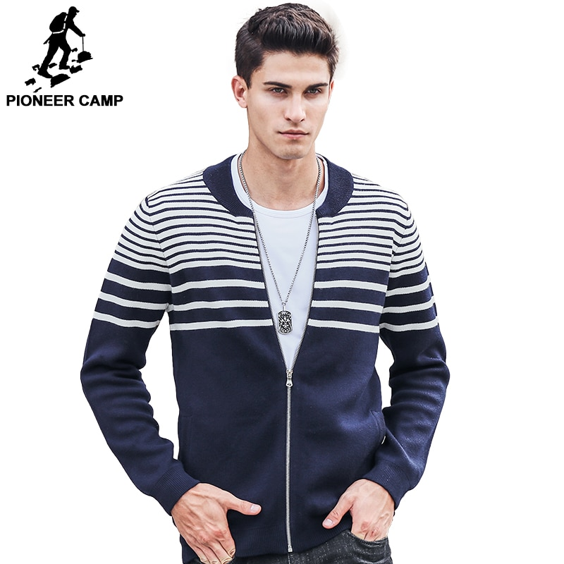 Pioneer Camp Autumn Winter Cardigan Sweater Men 2017 brand clothing high quality fashion Striped Knitted male Sweaters 611213