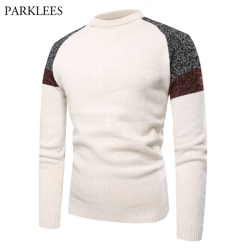 Raglan Sleeve Pullover Sweater Men 2018 Autumn New Fashion Patchwork Male Sweaters Long Sleeve O Neck Knitted Sueter Hombre 2XL