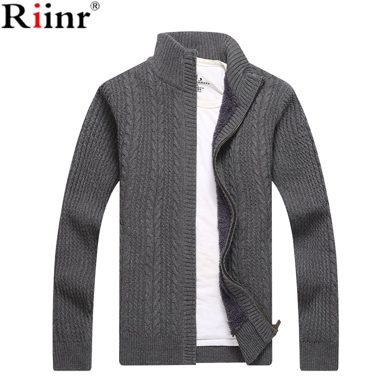 Riinr 2018 New Arrival Sweater Men Autumn Winter Wool Thick Male Cardigan Fashion Brand Clothing Outwear Knitting Sweater Hombre