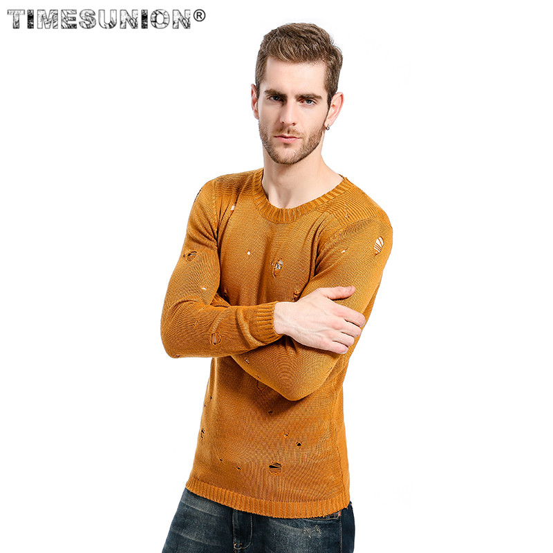 Ripped Destroyed Holes Distressed Sweaters Mens Knitted Pullover Sweater Male Hip Hop Fashion Slim Sweater Streetwear