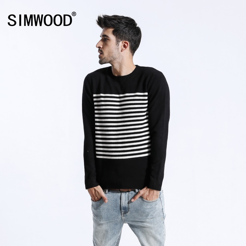 SIMWOOD 2018 Autumn Winter Sweater Men Slim Fit Casual Striped Pullovers Fashion Plus Size Knitted Wool Sweater Clothes 180463