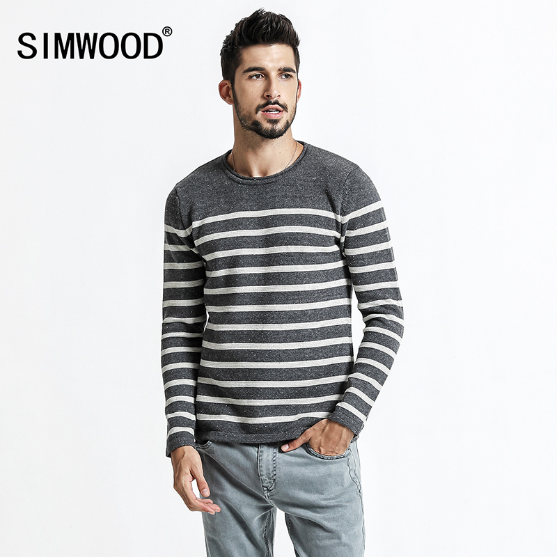 SIMWOOD 2018 autumn New Striped Sweater Men Pullover Knitted Snowflake Sweater Male Fashion High Quality Plus Size MT017010