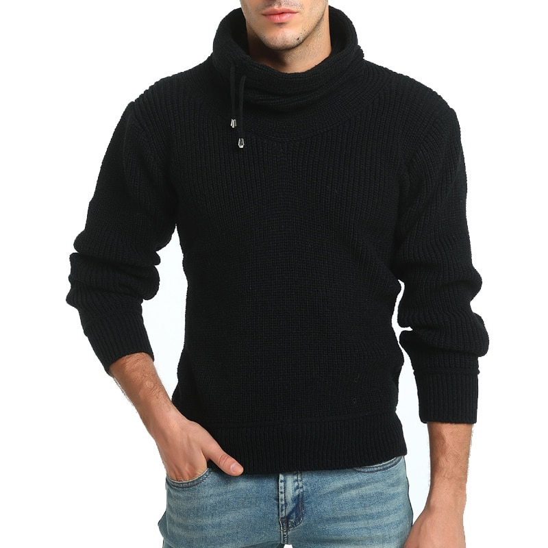 Spring new men's sweaters 100% wool long-sleeve men's sweaters high-neck pure color wholesale