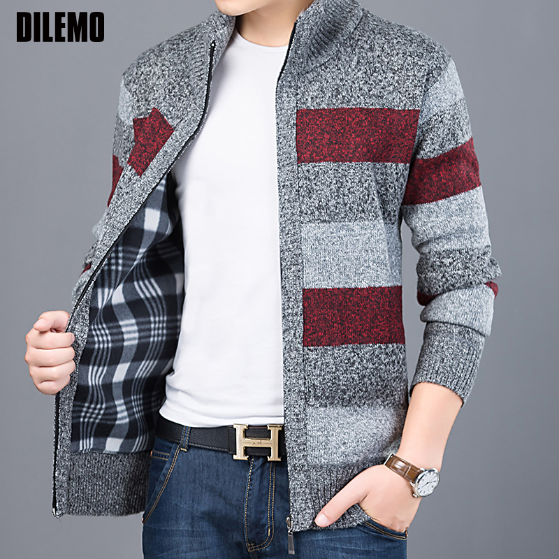 Thick 2018 New Fashion Brand Sweater For Mens Cardigan Slim Fit Jumpers Knitwear Warm Autumn Korean Style Casual Clothing Male