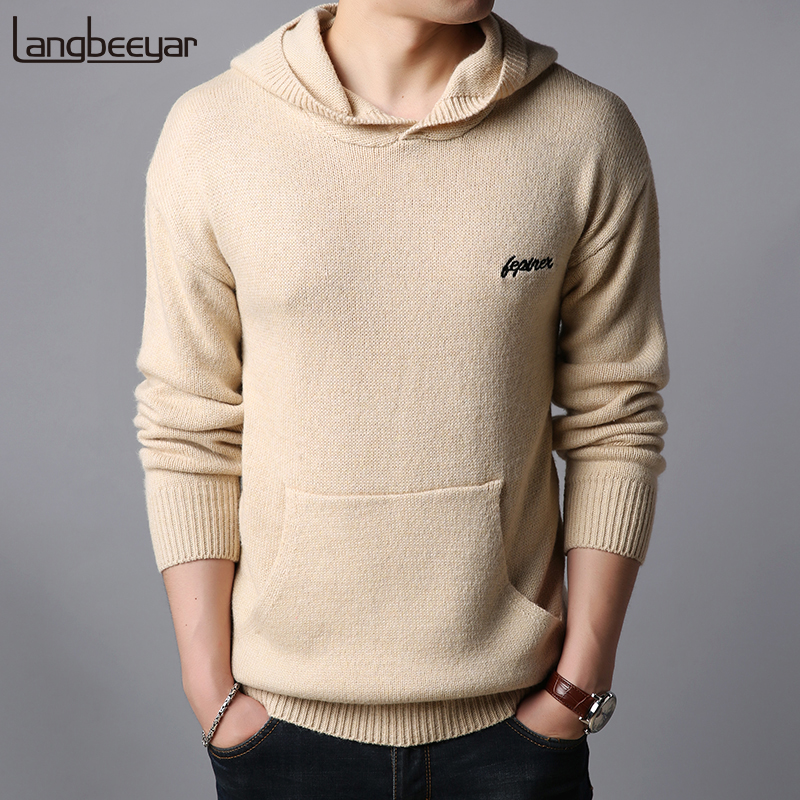 Thick 2018 New Fashion Brand Sweater Mens Pullovers Hooded Slim Fit Jumpers Knit Autumn Warm Korean Style Casual Men Clothes