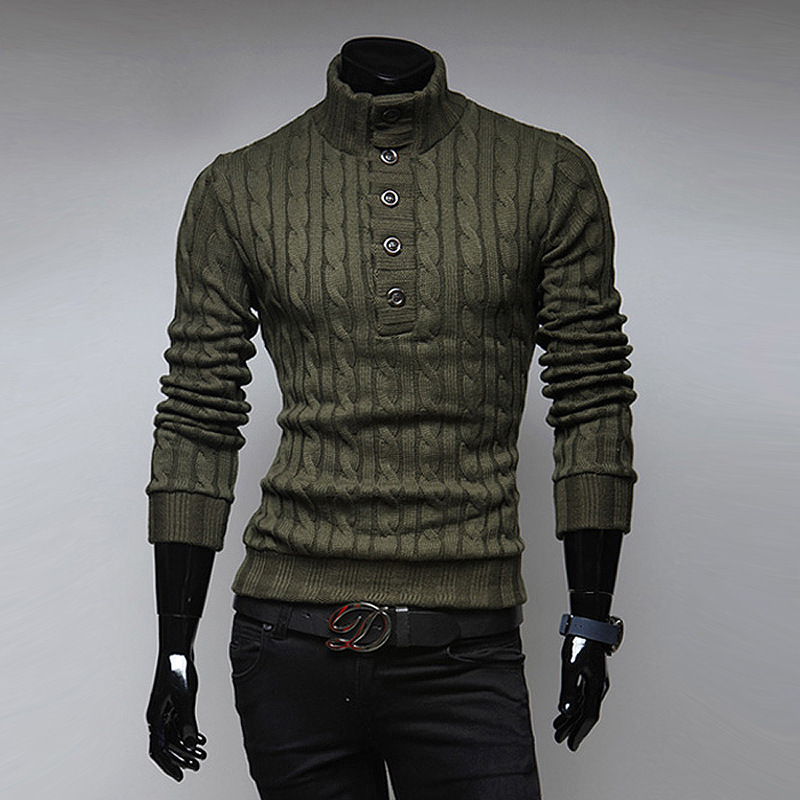 Top Selling New Spring Fashion Mens Turtleneck Sweater Solid Color Slim Buckle Korean Sweater Men Pullover Free Shipping 2018