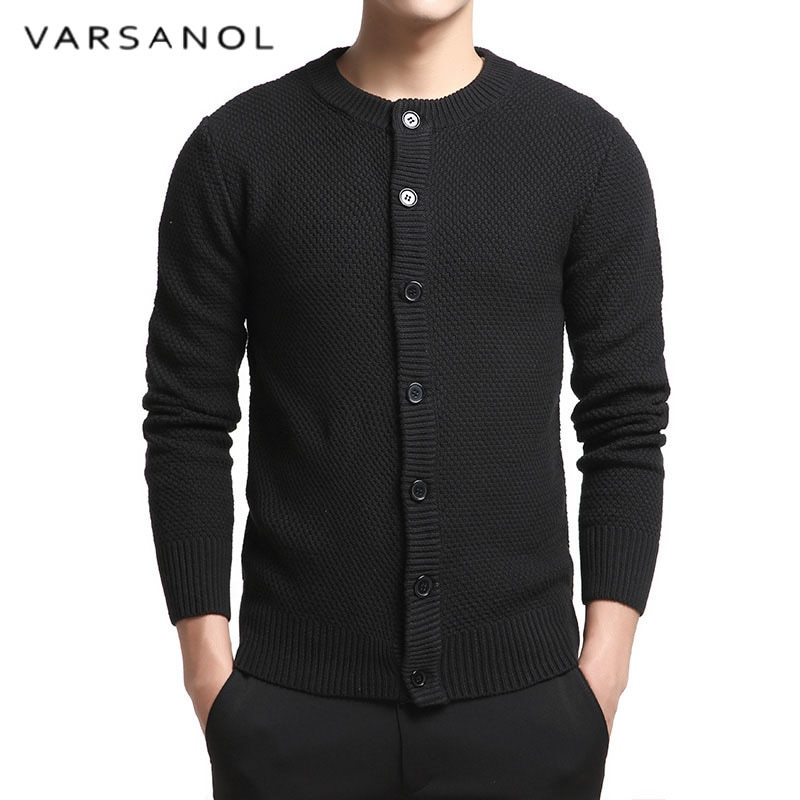 Varsanol Cotton Sweater Man Long Sleeve Cardigan Mens O-Neck Sweaters Loose Button Fit Knitting Casual Style Black Color Tops